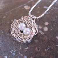 Two Eggs Silver Bird Nest Necklace, Gift, Summer Trends, Wedding