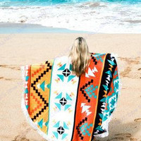 Geometric Pattern Round Beach Towel With Tassel For Adult Circle Swimming Towels Sunbathe Hike Picnic Blanket Yoga Mat Serviette
