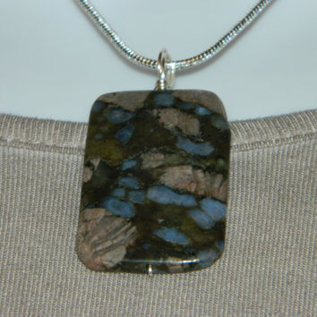 45ct. Multi Color Stone, Semi Precious, Agate, Pendant, Necklace, Rectangle, Natural Stone, 106-15