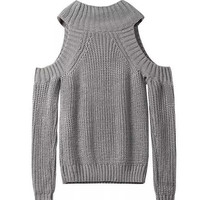 Gray Off The Shoulder Soft Knitted Sweater