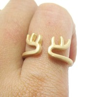 Minimalist Deer Antler Shaped Animal Ring in Gold | DOTOLY
