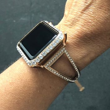 38mm 40mm 42mm 44mm Bangle Cuff Apple Watch Band Series 1,2,3,4 Rhinestone Crystals Rose Gold Chain/Case Cover Bezel 3mm Lab Diamonds Iwatch