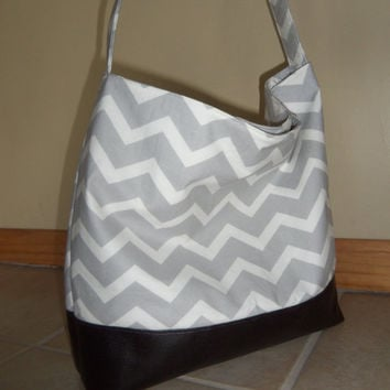 SALE Chevron & Vegan Leather Slouchy Hobo- Purse- Tote- Handbag