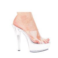 "Ellie Shoes Vanity 6"" Pump 2"" Platform Clear Six"