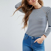 ASOS Body with Long Sleeve in Stripe with Contrast Trim at asos.com