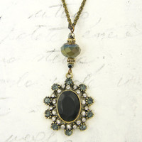 Matte Black Pendant with Gray Clear Rhinestones Victorian Gothic Antique Bronze Drop Necklace