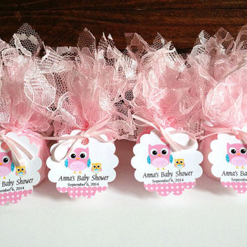 20x Baby shower candles, personalized pink lace covered baby shower votive candles