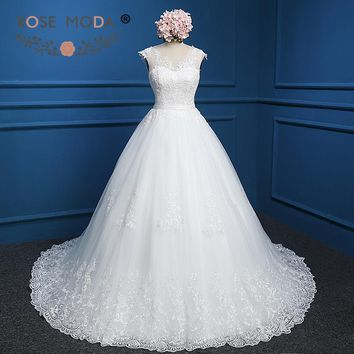 Rose Moda Vintage Lace Ball Gown Cap Sleeves Lace Wedding Dress Plus Size V Back Real Photos