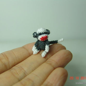 1 inch miniature baby sock monkey  Tiny amigurumi by LamLinh