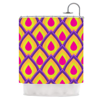 "Roberlan ""Pineapple"" Pink Yellow Shower Curtain"