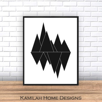 Scandinavian Art, Printable Art, Triangle Print, Modern Art, Wall Decor, Wall Art, Digital Download, Poster, Black and White