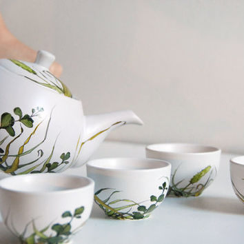 ready to ship Hand Painted Ceramic Tea Set Grass by yevgenia