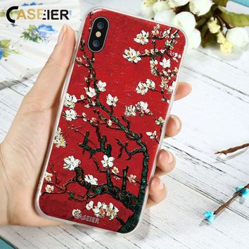 CASEIER Van Gogh Flower Case For iPhone 5 5s SE Chinese Flower Silicone Cover For iPhone X 6 6s 7 8 Plus Soft Protective Coque
