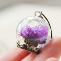 Glass ball purple flower necklace