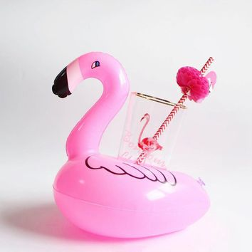 MOWIN Mini Inflatable Flamingo Unicorn Donut Pool Float Toys Drink Float Cup Holder Swimming Ring Party Toys Beach Kids Adults