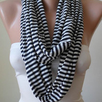 NEW - Infinty - Circle -  Loop Scarf - Dark Blue and Beige Striped - Combed Cotton Fabric for Summer-