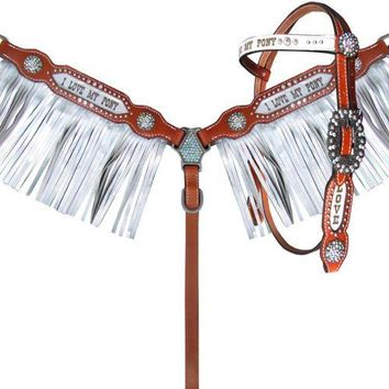 """Showman ® Pony Size """"I Love My Pony"""" Browband headstall and breast collar set with silver metallic overlay and fringe"""