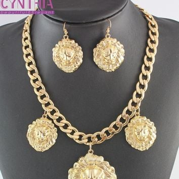 New Celebrity 3pcs Lion Head Myth Medusa Pendant Earrings Necklace Gold color