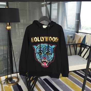 """""""Gucci"""" Casual Fashion Letter Tiger Head Embroidery Long Sleeve Hooded Sweater Women Hoodie Tops"""