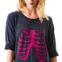 Wildfox Couture Skeleton Oversized Sweater Clean Black