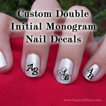 Custom Double Initial Monogram Nail Decals