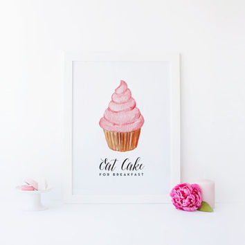 eat cake for breakfast print kate spade quote cupcake art print cupcake quote