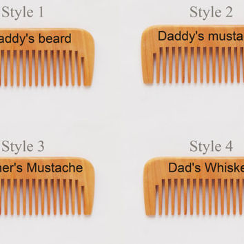 Personalized beard comb, Custom comb, wood comb, pocket comb, Moustache comb, fathers day gift, Dad Gift, burned wood