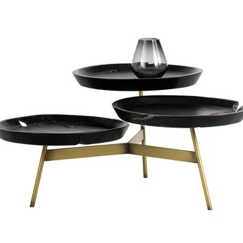 MONTY BRUSHED ANTIQUE BRASS STEEL BASE WITH THE SOLID TEAK TOP TRAY COFFEE TABLE