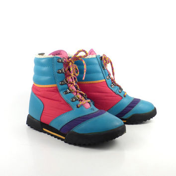 Rofee Boots Vintage 1980s Winter Colorblock Apres Ski Women's size 7