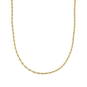 14K Yellow Gold Diamond Cut Rope 1.5mm Chain Necklace