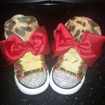 VONR3I Custom Red and Leopard print converse