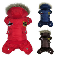 Winter Warm Small Dog Pet Clothes Padded Hoodie Jumpsuit Pants Apparel XS-XL