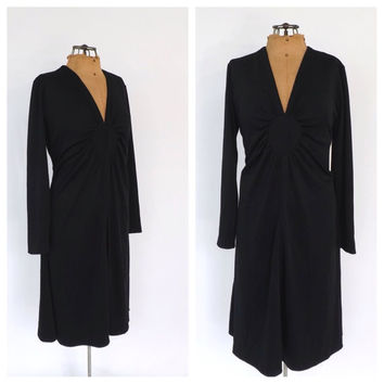 Size Large Vintage 1960s 1970s Diva Dress Black 60s Mini Mid Dress Long sleeve Short Dress Motown Disco Diva Retro Prom Dress Party Dress