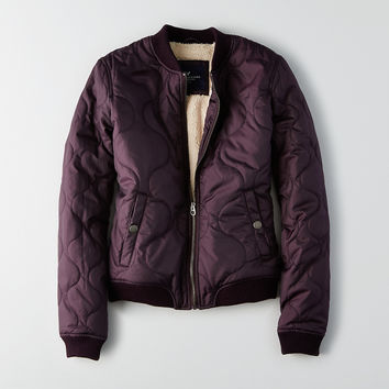 AEO Quilted Lined Bomber Jacket, Black