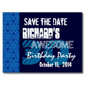30th Birthday Party Save the Date Blue Midnight Post Card