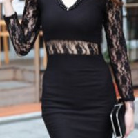 Lace Panel Black Bodycon Dress