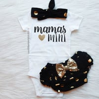 Baby Girl Clothes, Mommy and Me, Mommy's Girl, THE ORIGINAL Mama's Mini™, Optional Bloomer Set, Gold Glitter Bodysuit, New Baby Gift