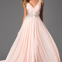 Floor Length V-Neck Ball Gown from JVN by Jovani