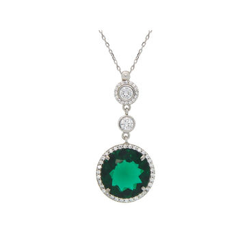 Round Emerald Green Cubic Zirconia Pendant Necklace Rhodium Plated Sterling Silver, 16""
