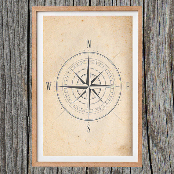 Vintage Compass Wall Decor : Vintage compass print antique wall art from artiqueprints