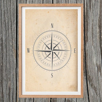 Vintage Compass Print Antique Wall Art