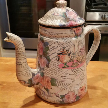 Vintage Shabby Recipes and Roses Decoupaged Hand Made Art Tea Pot
