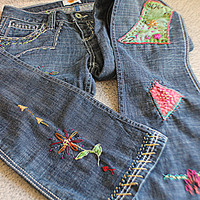 Embellished Upcycled Women's Jeans / Antik Denim / Funky Boho Festival Jeans Hippie Clothing / Junk Gypsy Clothes