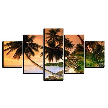 5 Panel Coconut Palm Trees Sea Ocean Beach View Wall Art Picture For Living Room
