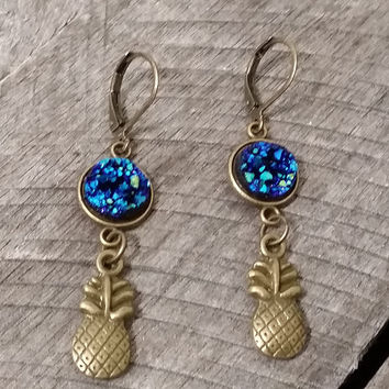 Druzy earrings- Bronze tone ocean blue druzy pineapple earrings