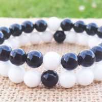 COUPLES Matching Bracelets Relationship Bracelet His and Hers Bracelet Complete Me Black and White Jade Bracelet Stacks Men Women Jewelry