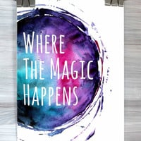 Bedroom Wall Art Where The Magic Happens Print Quote Typography Poster Watercolor Apartment Office Dorm Home Decor