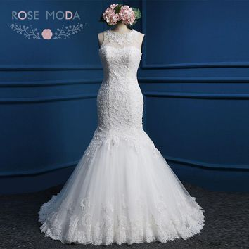 Real Photo Mermaid Wedding Dress with Pearls High Neck Sleeveless Lace Wedding Dresses 2018 Real Photos