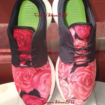 Red and Black Large Roses Printed Roshes