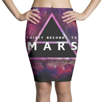 30 seconds to mars  galaxy design Pencil Skirts